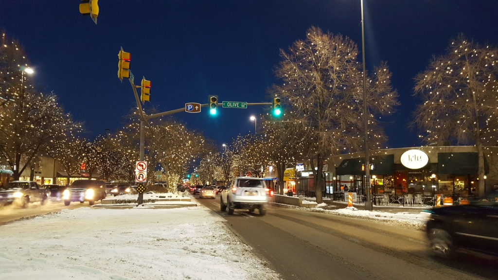 Christmas lights in Old Town Fort Collins