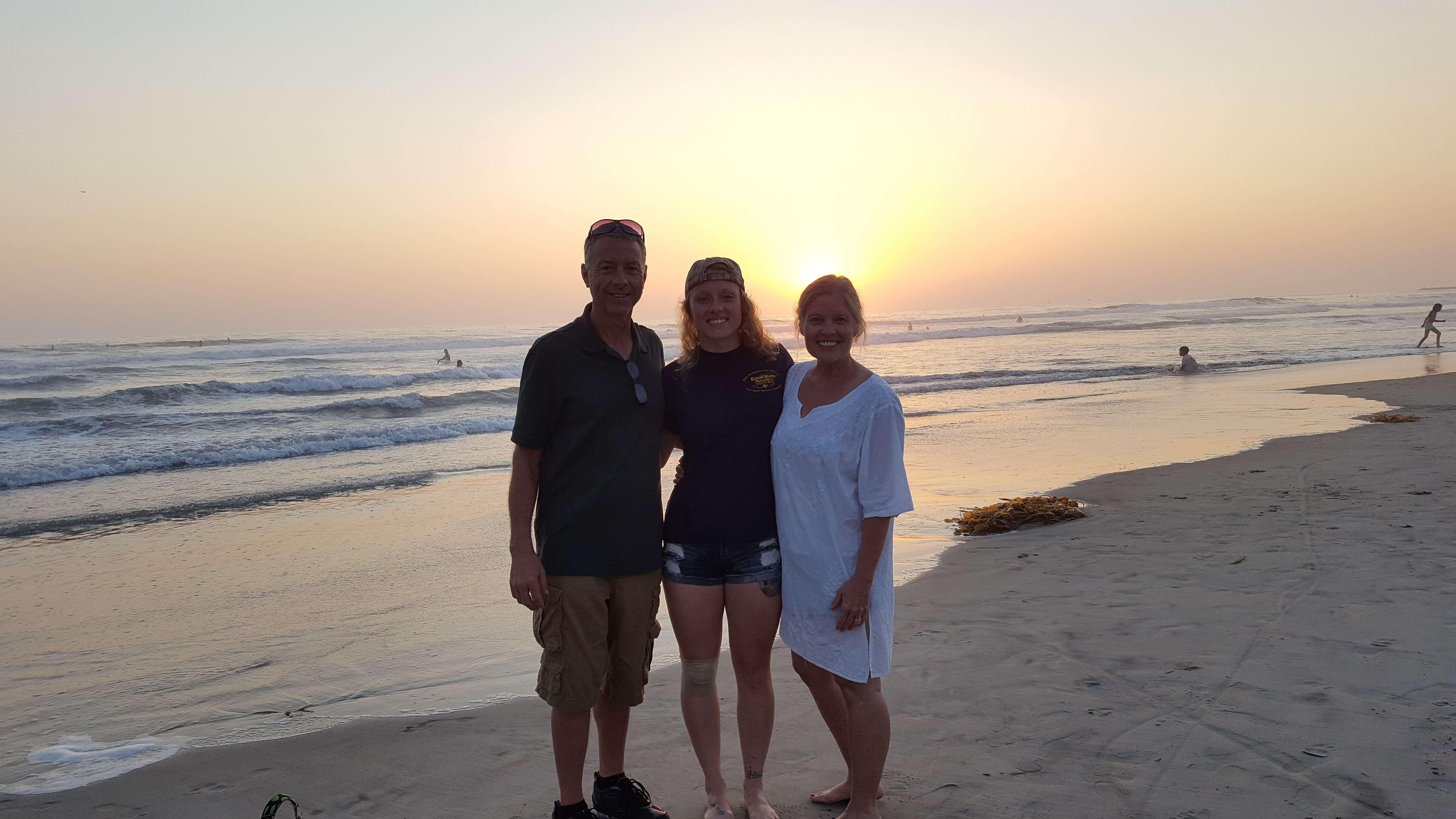 Oceanside beach at sunset