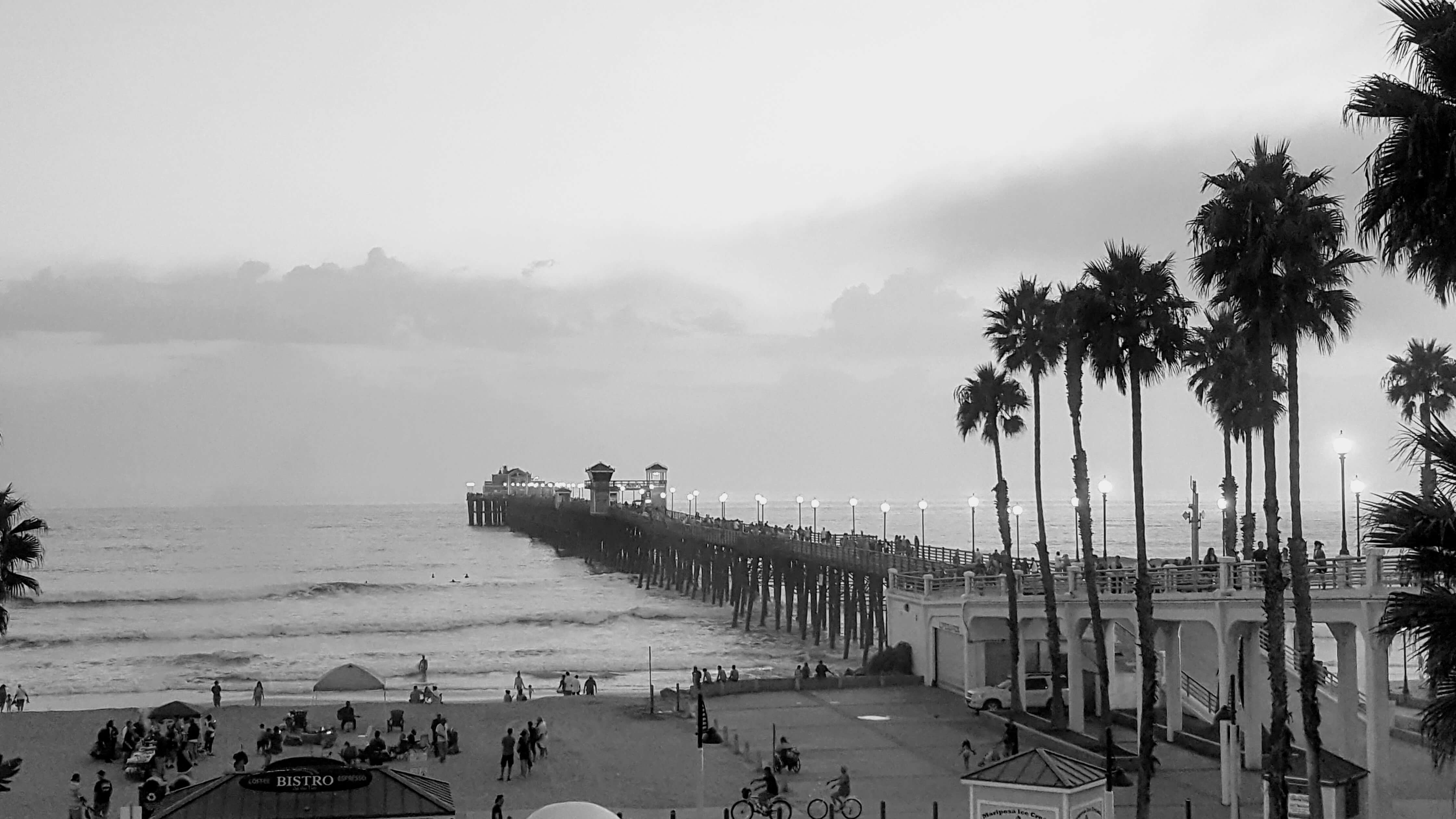 The dreamy Oceanside Pier in black and white