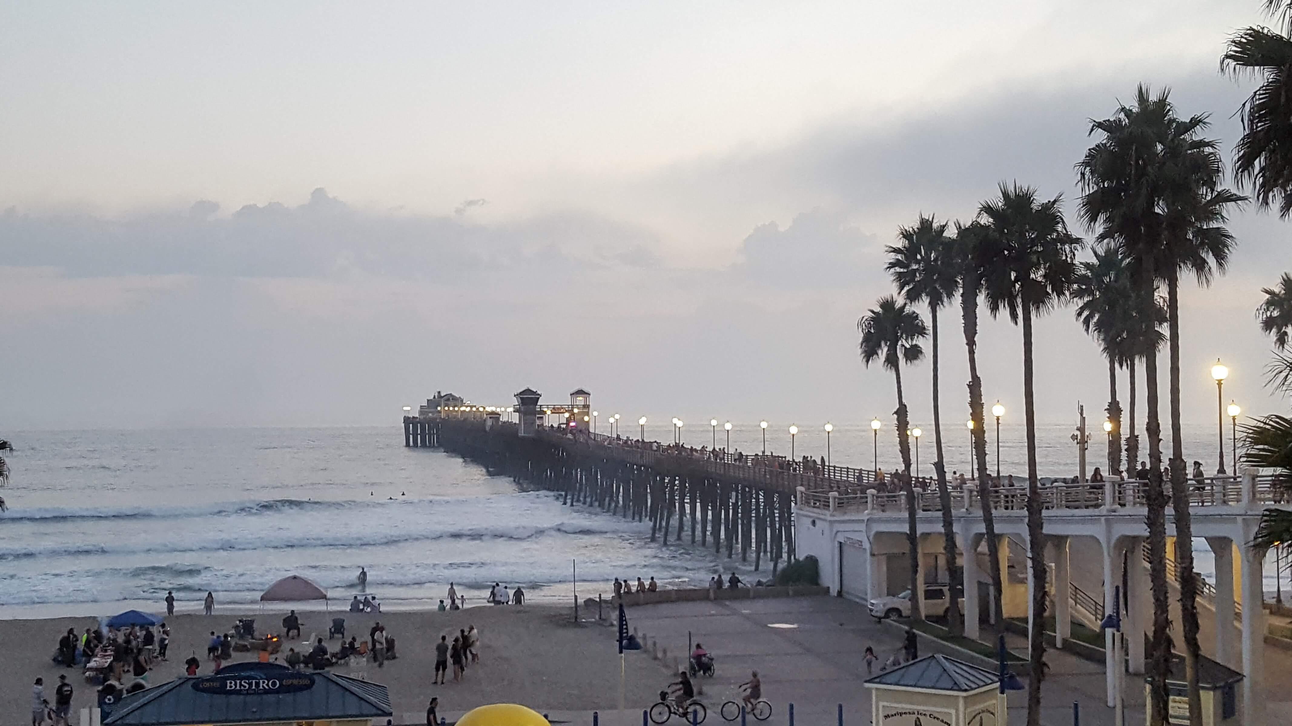 The Oceanside Pier at dusk