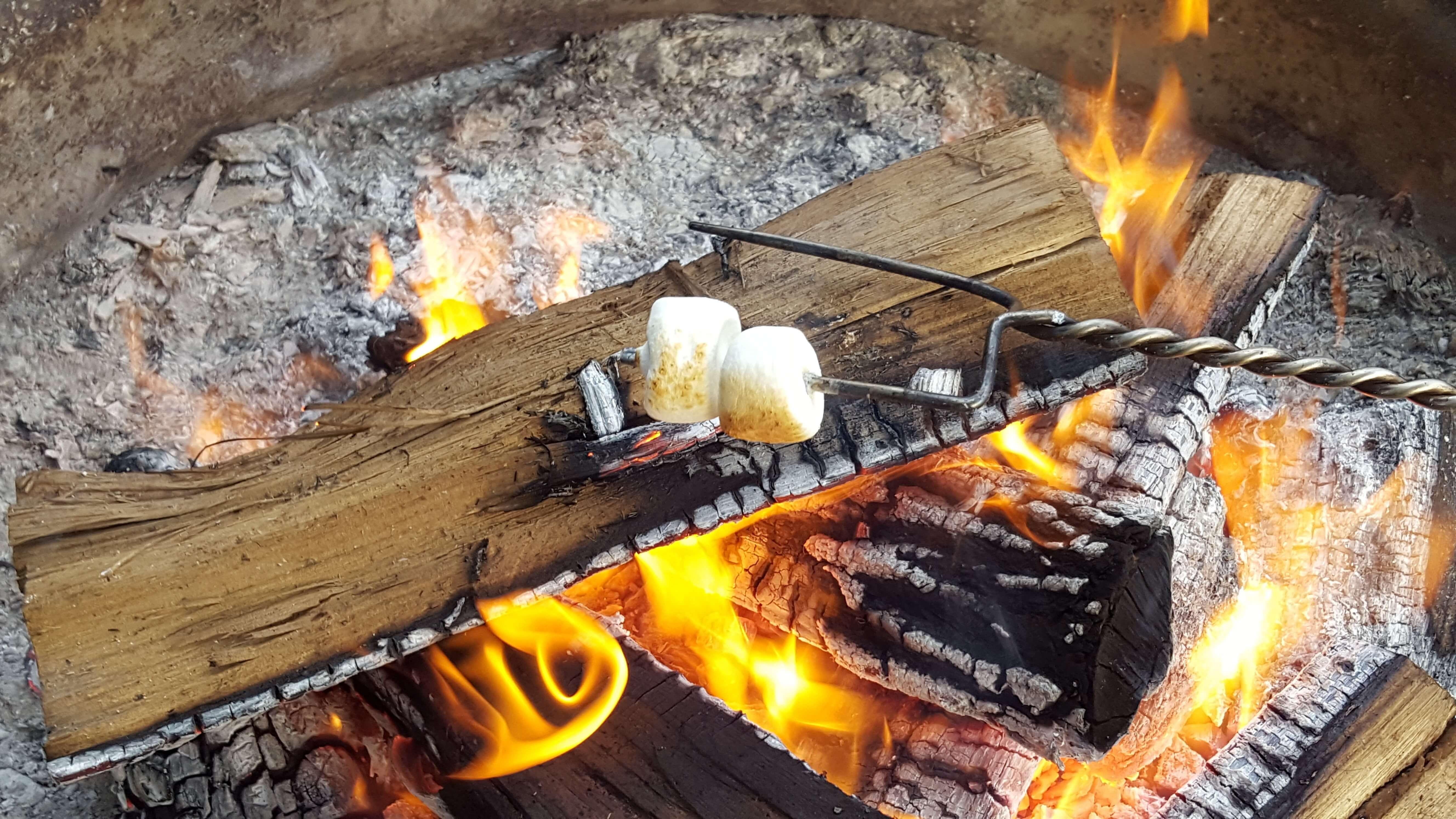 Golden fire for roasting marshmallows
