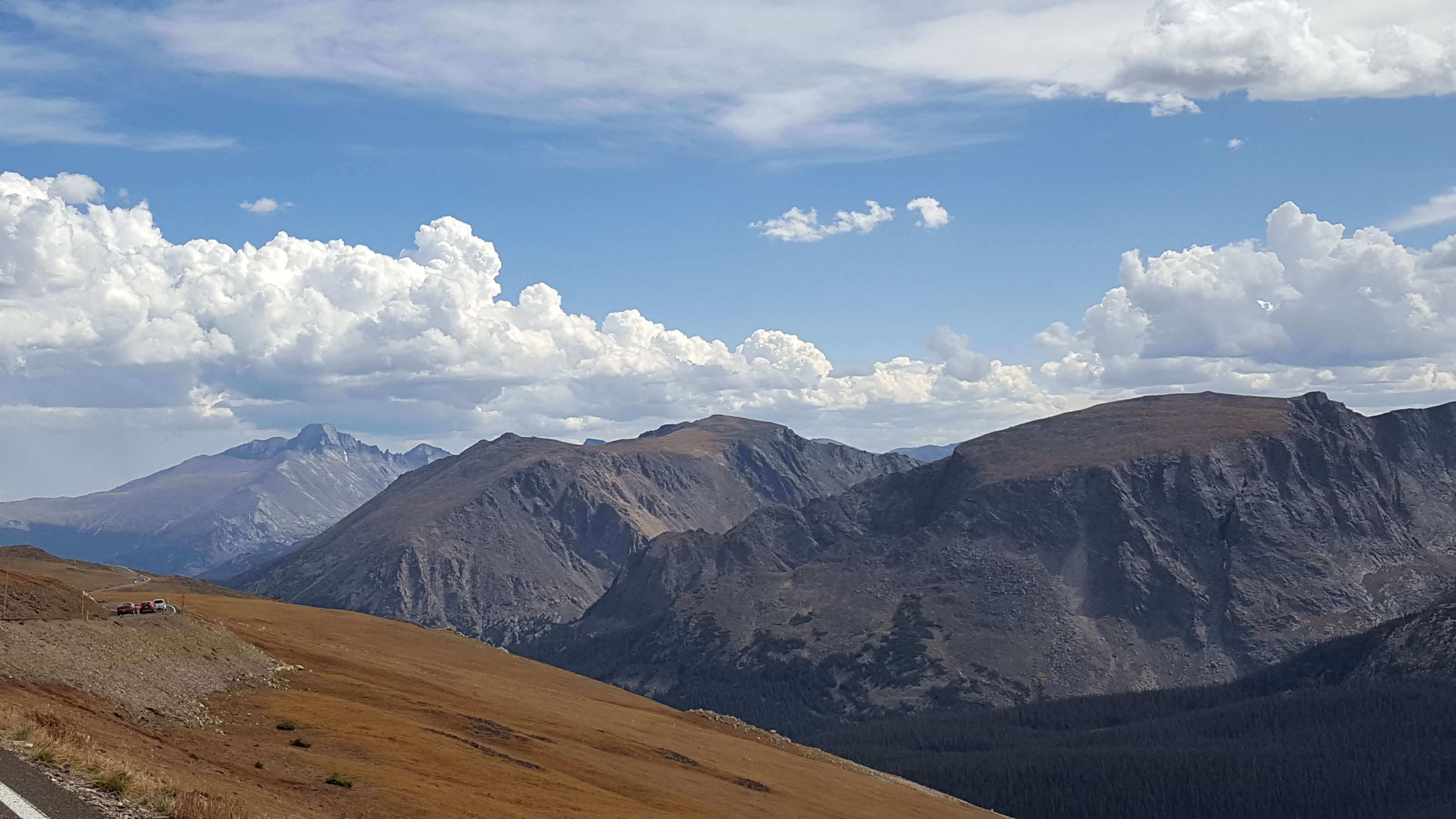 A clear view of Long's Peak from Trail Ridge Road