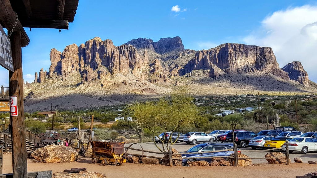 Superstition Mountains as seen from Goldfield Ghost Town