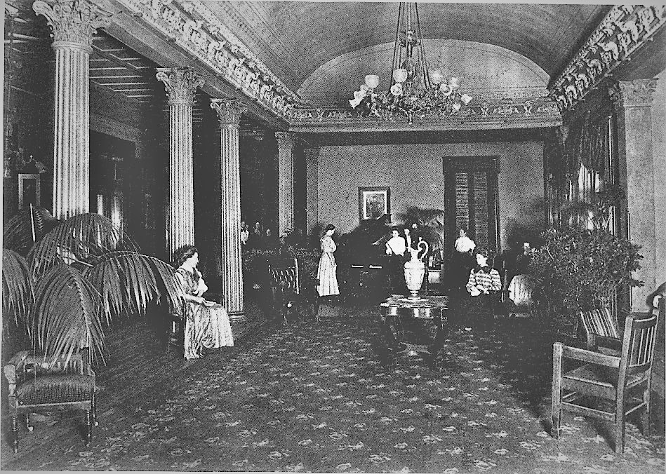 Old photo of the Grand Salon, 1898, Belmont Mansion