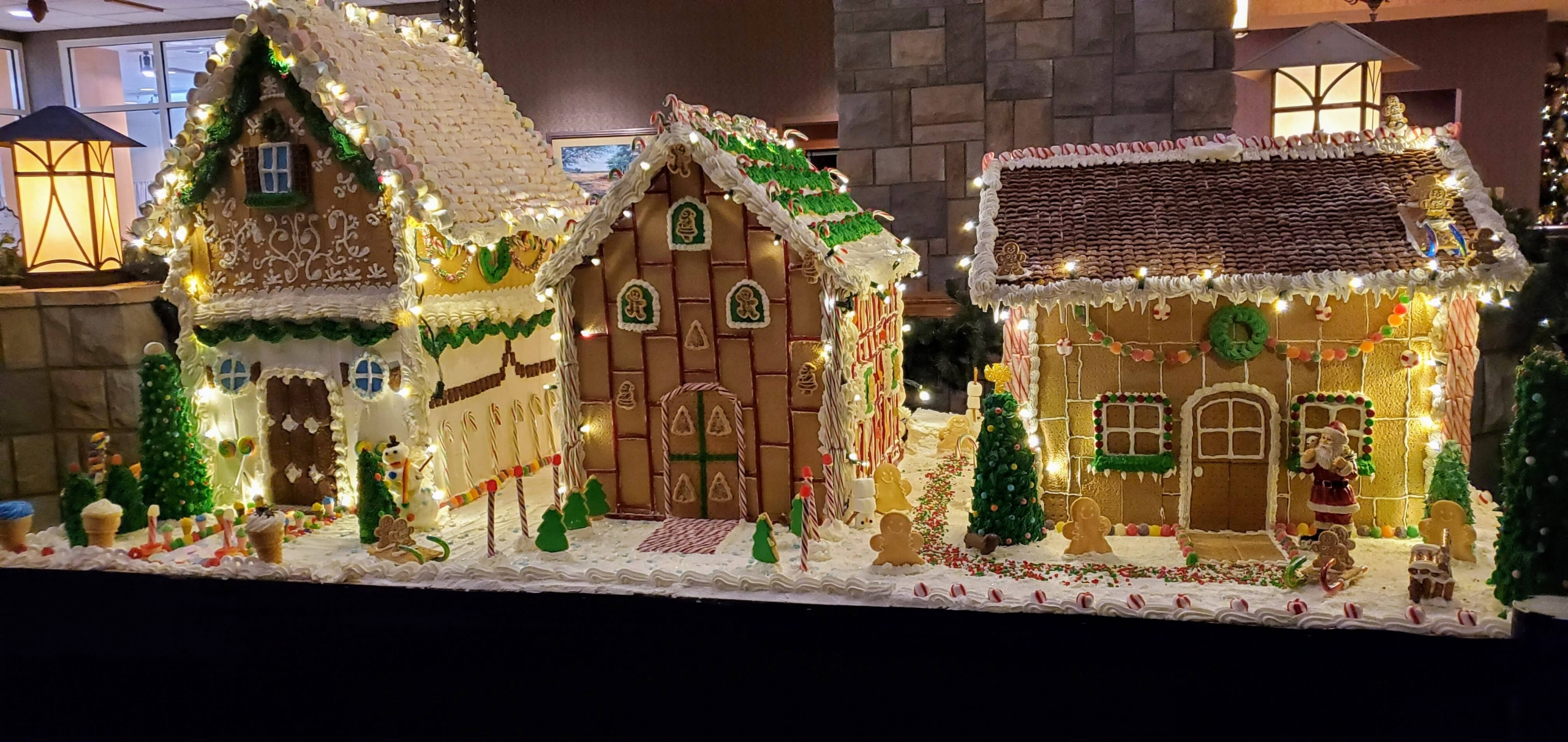 Gingerbread houses at Chateau on the Lake in Branson, MO